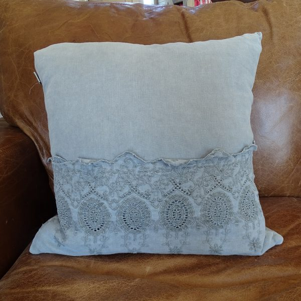 Lavender House Blue Grey Linen Cushion with Lace Pattern