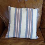 Lavender House blue white narrow red striped cushion