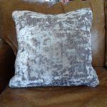 Lavender House Textured Taupe Velvet Cushion