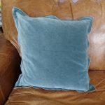 Lavender House Teal Velvet and Linen Cushion