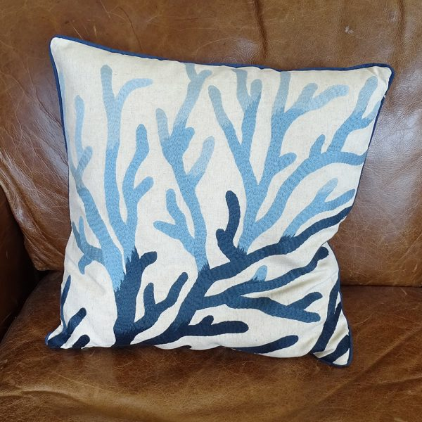 Lavender House Linen Cushion with Blue Embroidered Coral Pattern