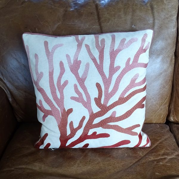 Lavender House Linen Cushion with Coral Embroidered Pattern