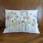 Lavender House Linen Cushion with Embroidered Wild Flower Pattern
