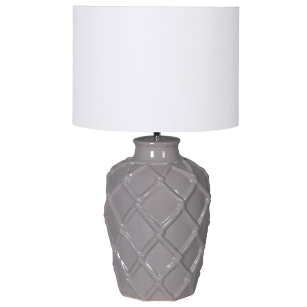 Lavender House Grey Rope Pattern Ceramic Table Lamp with Shade