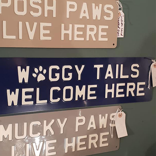 Pressed Metal Dog Themed Wall Signs